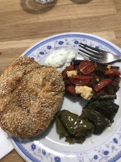 Spiral Spanakopita, Dolmades, Sweet & Sour Imam Baildi from Crete (baked eggplant) & Tzatziki