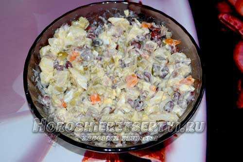 Салат с мясом и фасолью рецепт с фото – салат с фасолью и ...