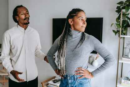 black man apologizing while talking with girlfriend stress kills resilience