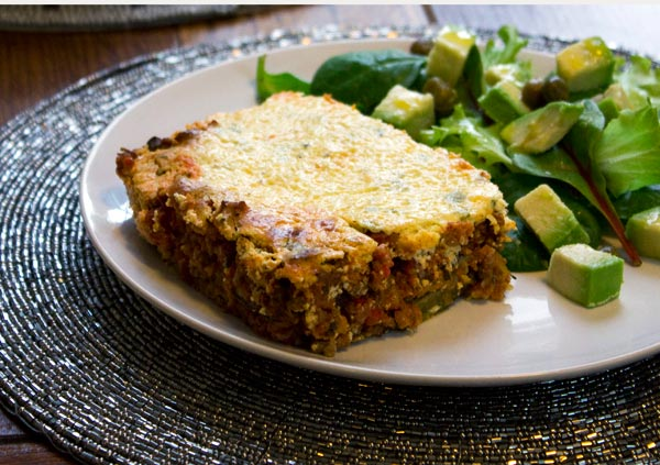 slice of gluten-free lasagne.