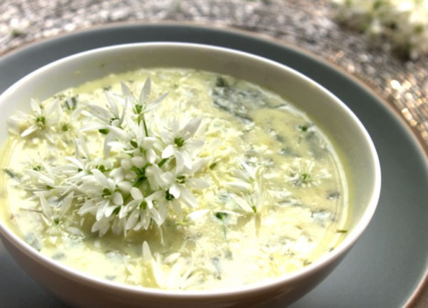 bowl of wild garlic soup