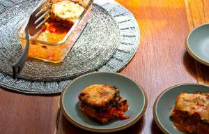 Aubergine Gateau with Cherry Tomatoes, Basil and Parmesan