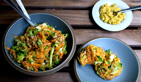 Broccoli, carrot and apple salad with vegan wholemeal scones and yellow pepper hummus.