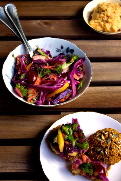 rainbow slaw on scones with hummus