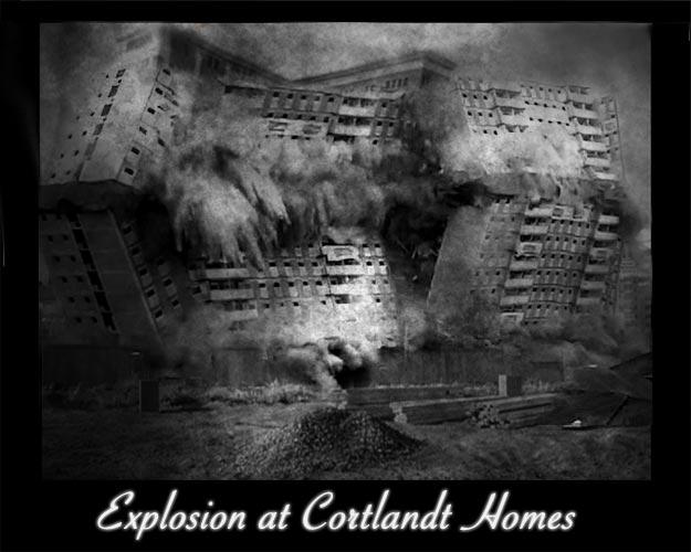 building demolished by explosives