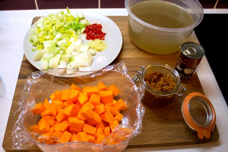 ingredients for balti butternut squash soup