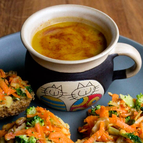 soup and salad with scone