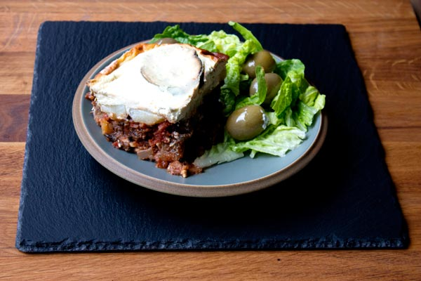 gluten free mushroom moussaka with side salad