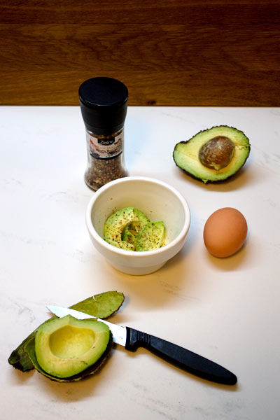 ingredients for egg and avocado bake