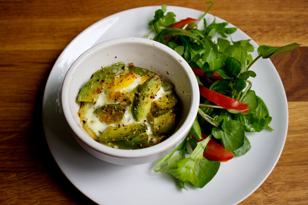 Egg and avocado bake with salad