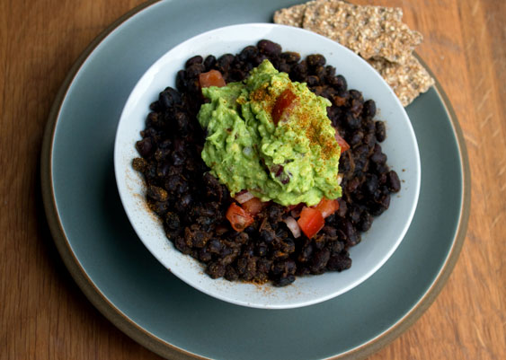 black beans with guacamole