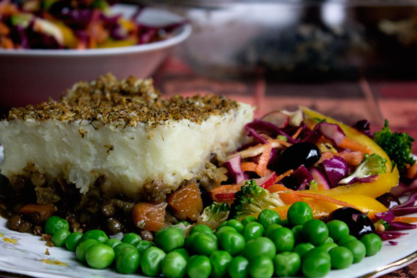 Vegan Shepherd's Pie with Rainbow Slaw