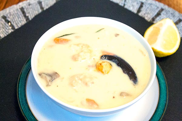 A creamily nourishing bowl of simple seafood chowder.