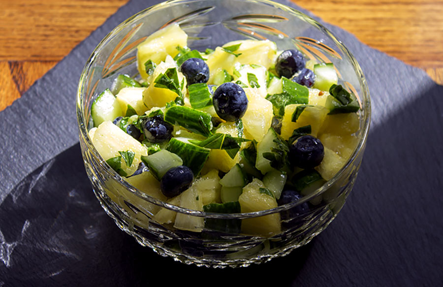 Salted Pineapple and Basil Salad