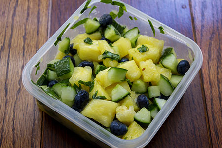 ingredients for salted pineapple and basil salad