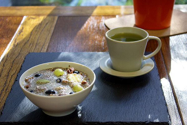 Chia pudding and green tea.