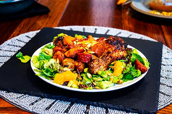 Chicken, Chorizo, Butternut Squash and Orange Salad