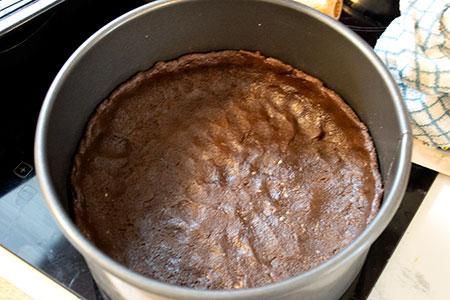 chocolate base pushed into tin