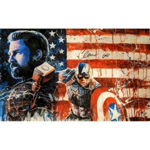 Rob Prior Captain America Print signed by Chris Evans