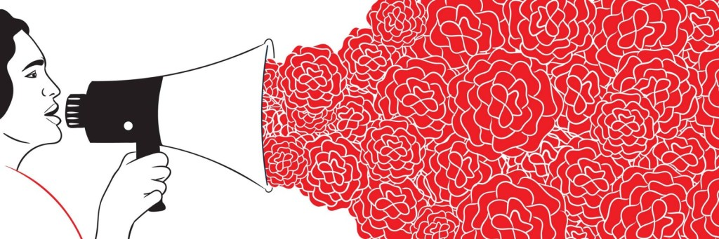 An illustration of a person speaking into a loudspeaker, with many roses coming out of the other end.