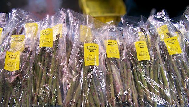 Bundles of fresh asparagus.