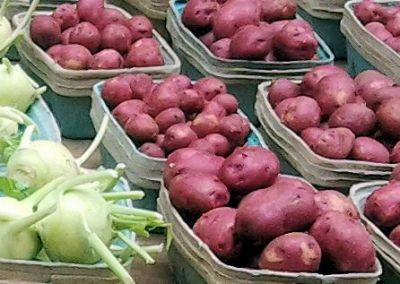 Red potatoes and kohlrabi at the Seventh Place Market