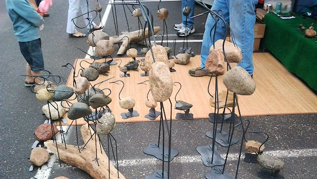 Rock sculptures, one of many artistic creations you can find at the Farmers' Market Annex.