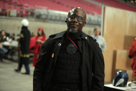 Nick Fury cosplayer (Photo by Gage Skidmore)