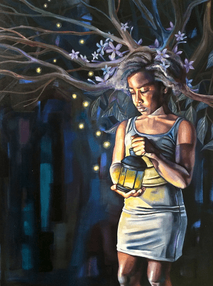 """Child of the Wild #2"" Oil on Canvas, 2014 - Girl in a light dress holding an old lantern, with a halo of flowers. Branches and fireflies in the background."