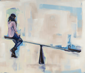 """Duplicity"" Oil on Canvas, 2013 - girl on a teeter totter with an object weighing down the other side."