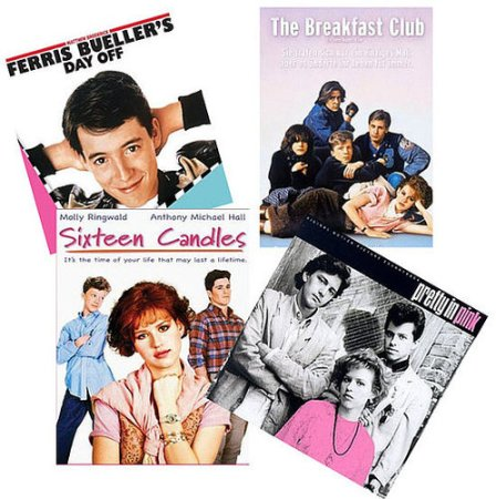 Four of John Hughes's films: Ferris Bueller's Day Off, The Breakfast Club, Sixteen Candles, and Pretty in Pink