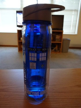 Blue water bottle with TARDIS