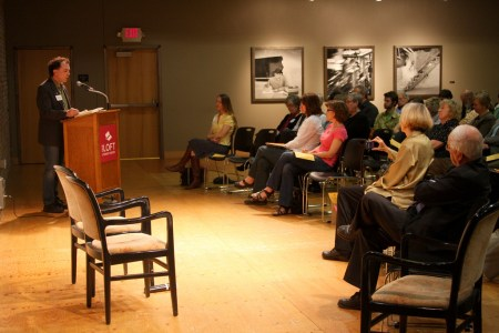 Minnesota Book Award winner Shawn Lawrence Otto reads at the Loft in 2012.