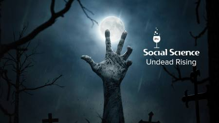 Social Science: Undead Rising banner with zombie hand reaching up in front of moon