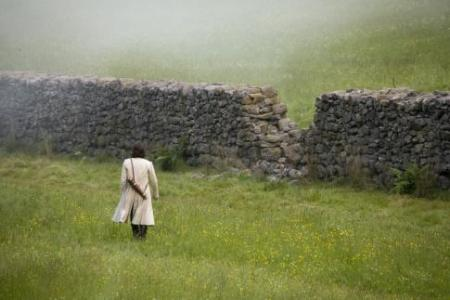 Tristan crossing a field of dandelions to a stone wall with a hole. Beyond the wall is more dandelion fields. He's got a long tan jacket and goods strapped along his back.