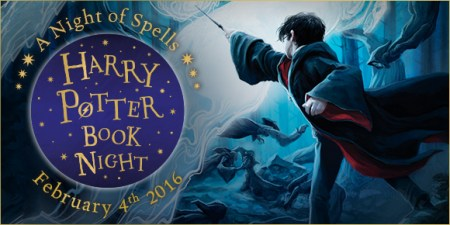 Harry Potter Book Night banner, featuring Harry and his wand