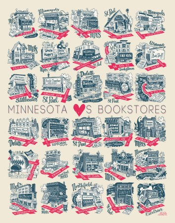 "Poster with the text ""Minnesota [heart]s bookstores"" and illustrated depictions of 30 Minnesota bookstores"