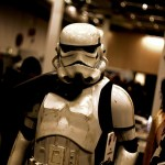 A person dressed as a Storm Trooper