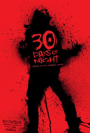 a red background with a mostly black body and red face - clearly a vampire. 30 Days of Night is right in center of the body, same red as the background.