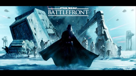 A promotional image for the game, showing Darth Vader walking in the snow in front of a downed AT-AT.