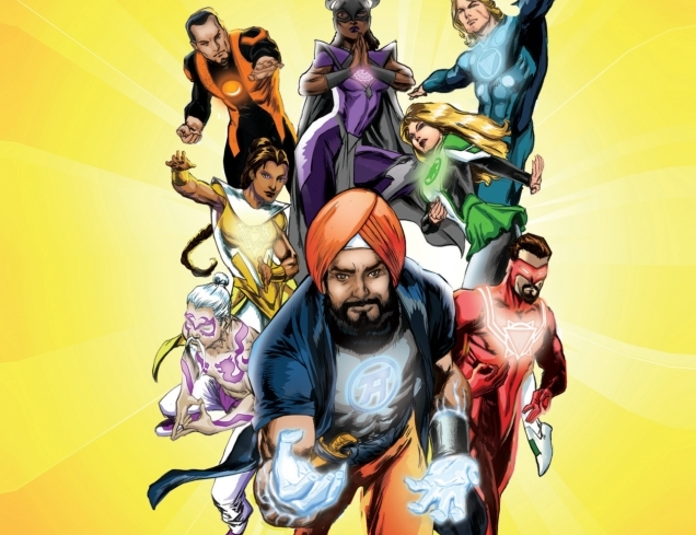 illustration showing Super Sikh and the Atma Defenders leaping into action in their colorful costumes