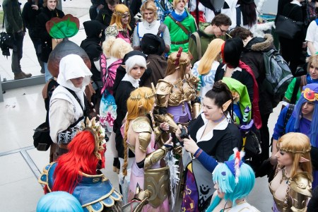 Cosplayers at a convention