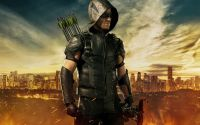 Promotional image for Arrow season four, featuring the protagonist against a stylized landscape