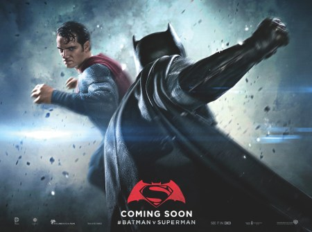 Batman punching Superman in #BatmanvSuperman Coming Soon poster