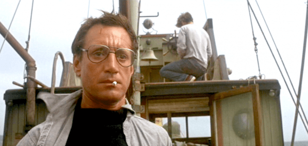 Screenshot of Martin Brody, played by Roy Scheider, on a fishing boat
