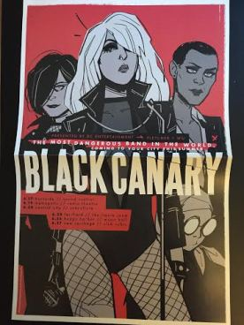 A poster of Black Canary on a red background in a black and white noir style.