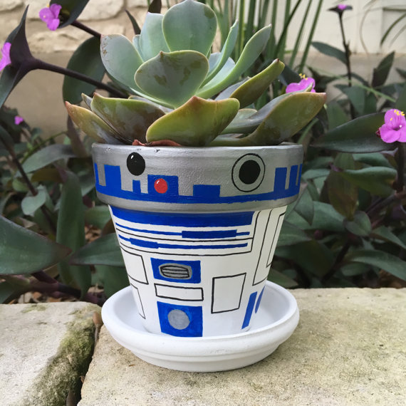 R2D2 Painted Flower Pot / FlourishandPots