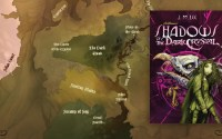 The cover for Shadows of the Dark Crystal superimposed over a map of the world of the novel