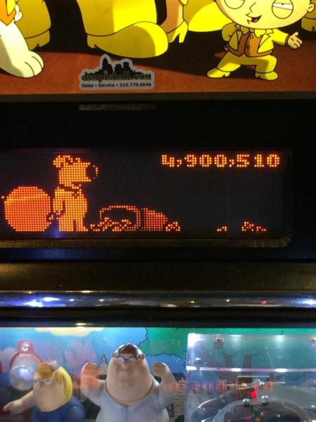 Picture shows a high score of a pinball machine. It also shows characters from the TV show Family Guy.