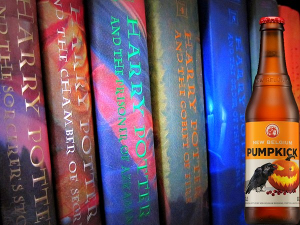A bottle of Pumpkick beer superimposed over several volumes of the Harry Potter series